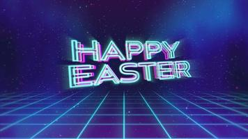 Animation text Happy Easter and retro abstract grid in galaxy, holiday background