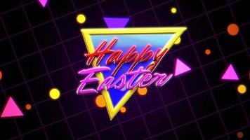 Animation text Happy Easter and retro abstract triangles on retro background in 90 style