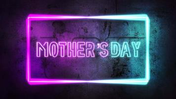 Animation text Mother's Day and purple neon lights on wall, abstract background