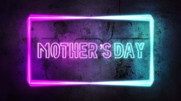 animação texto dia das mães e luzes de néon roxas na parede, fundo abstrato