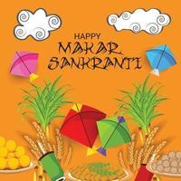 Ilustración vectorial de un fondo para el festival tradicional indio makar sankranti con estampado de cometas de colores vector