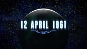 Animation closeup 12 April 1961 text with neon lines and planet in galaxy