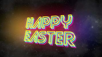 Animation text Happy Easter and abstract stars in galaxy, holiday background