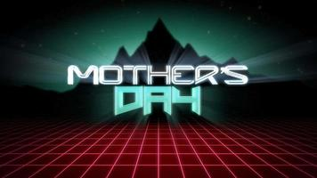 Animation text Mother's Day with mountain and red grid, sunset retro background