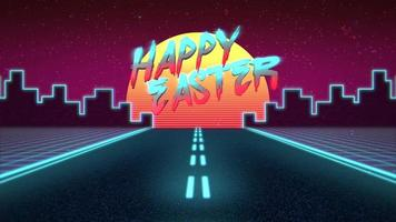 Animation text Happy Easter and and neon road and city, retro background in 90 style