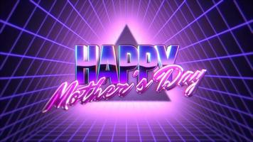 Animation text Mother's Day and retro abstract triangle and grid on retro background in 90 style
