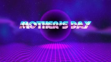 Animation text Mother's Day and purple disco ball on retro background in 90 style