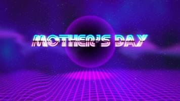 animação texto dia das mães e bola de discoteca roxa em fundo retrô no estilo 90