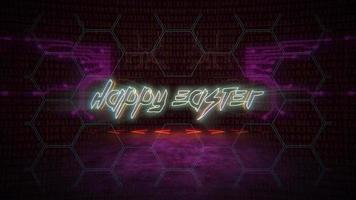 Animation text Happy Easter and cyberpunk animation background with computer matrix, numbers and grid