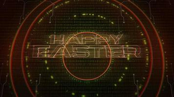 Animation text Happy Easter and cyberpunk animation background with computer matrix, numbers and circles