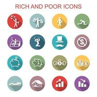 rich and poor long shadow icons vector