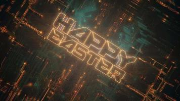 Animation text Happy Easter and cyberpunk animation background with computer chip and neon lights