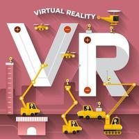 Construction team building the phrase virtual reality vector