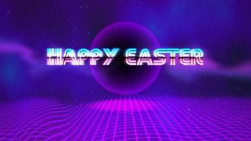 Animationstext glückliches Ostern und lila Discokugel auf Retro-Hintergrund im 90-Stil