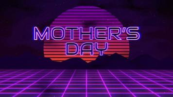 Animation text Mother's Day with mountain and sun, sunset retro background