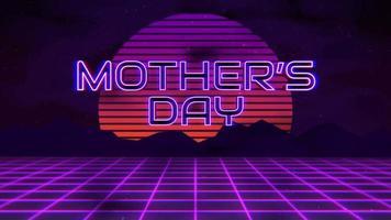 animação texto dia das mães com montanha e sol, fundo retro pôr do sol