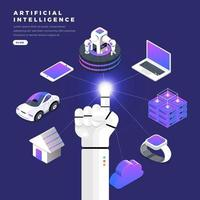 Hand of robot connecting artificial intelligence to various devices vector