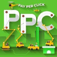 equipo de construcción construyendo la frase pago por clic vector