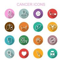 cancer long shadow icons vector