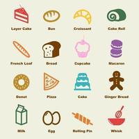 elementos de vector de panadería