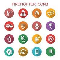 iconos de larga sombra de bombero vector