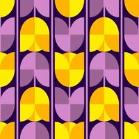 Abstract seamless pattern. Yellow-blue flowers tulips. Vector. Flower pattern vector