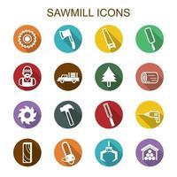 sawmill long shadow icons vector