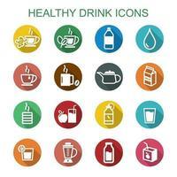 iconos de la larga sombra de bebida saludable vector