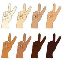 Collection of human ethnic hands with different skin color. Hand gesture - shows two fingers. Gesture number two or gesture V is victory. Vector drawing