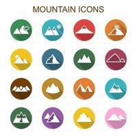 mountain long shadow icons vector