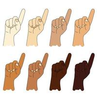 Set of ethnic hands with different skin colors. Hand gesture. Human Hand shows one index finger. gesture - number one or attention. Vector drawing
