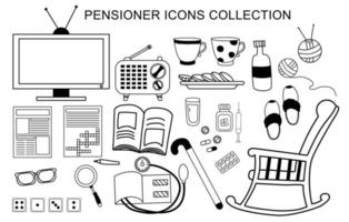 Vector set of icons for an elderly man. Life and activities for a pensioner