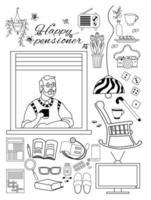 anciano. feliz anciano en la ventana del apartamento y cosas para una acogedora vida de jubilado. vector