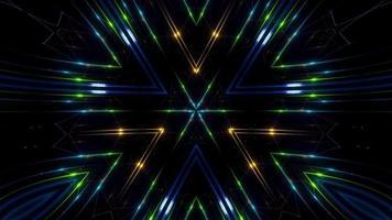 Caleidoscópio de fractal estilo futurista loops em neon verde