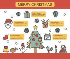 infografía de línea fina de navidad vector