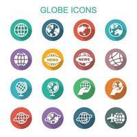 iconos de la larga sombra del globo vector