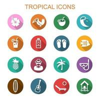tropical long shadow icons vector