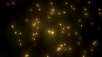 luzes estilo câmera lenta subindo com atmosfera nebulosa, partículas, reflexos de lente e efeito de profundidade de campo
