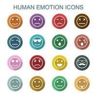 human emotion long shadow icons vector