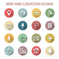map and location long shadow icons vector