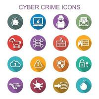 cyber crime long shadow icons vector