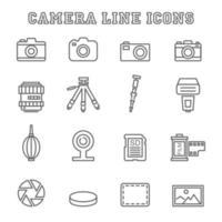iconos de línea de cámara vector