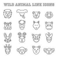 wild animal line icons vector