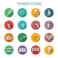 tennis long shadow icons vector