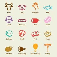 elementos de vector de carne