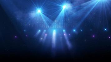 estádio piscando luzes azuis e roxas mudando as cores animação da cena