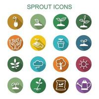 sprout long shadow icons vector