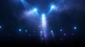 estádio piscando luzes azul-roxas mudando de cores