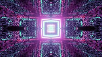 túnel distorsionado brillante con adornos geométricos 3 d ilustración