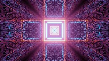Square Neon Tunnel with Distorted Walls 3 D Illustration video